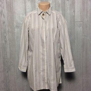 Brown Strip Button Down Shirt PLUS SIZE 18w